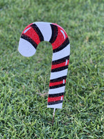 Christmas Candy cane facing left painted yard art design