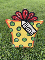 polka dot Christmas present painted yard art design