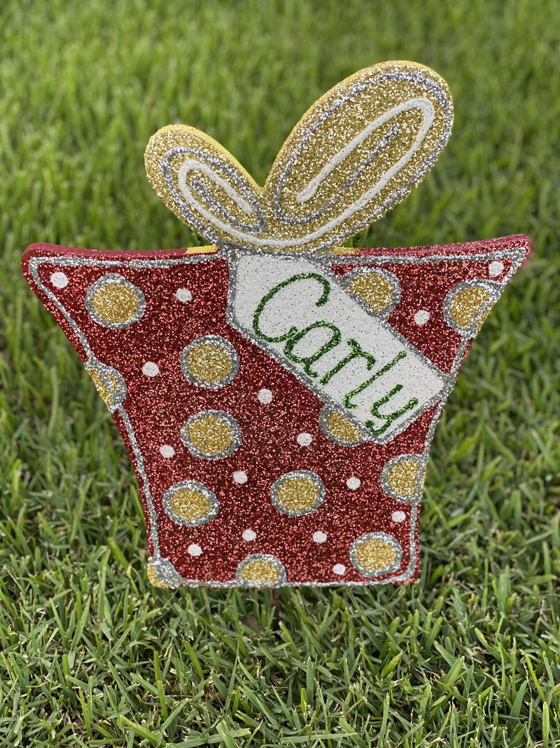 polka dot Christmas present with 2 loop bow and tag painted yard art design