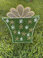 star and snowflake Christmas present painted yard art design