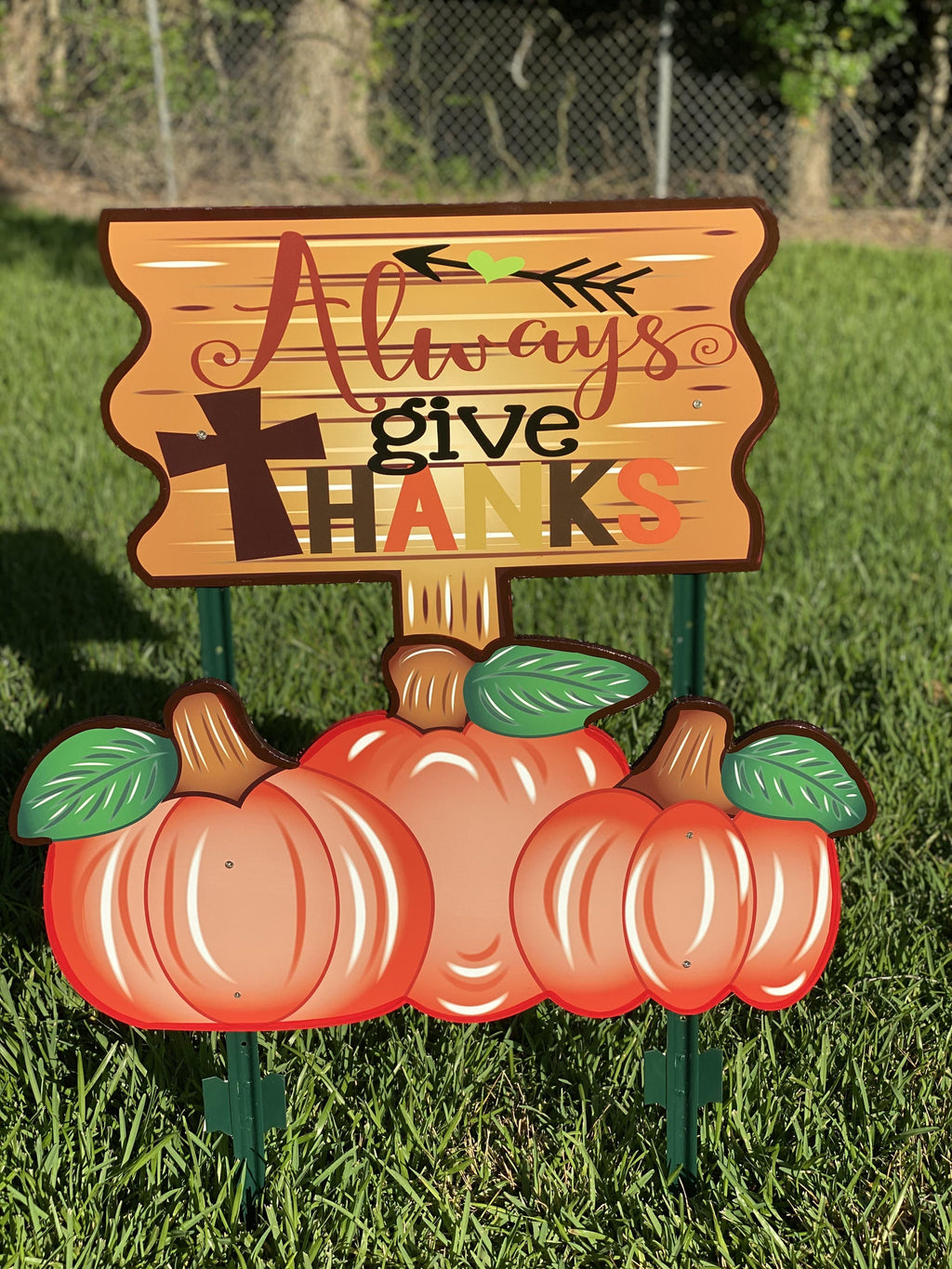 Always Give Thanks Thanksgiving Yard Art
