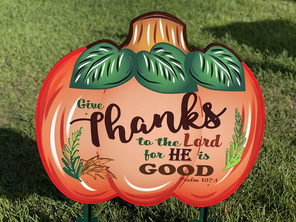 medium Bible Verse pumpkin painted yard art design