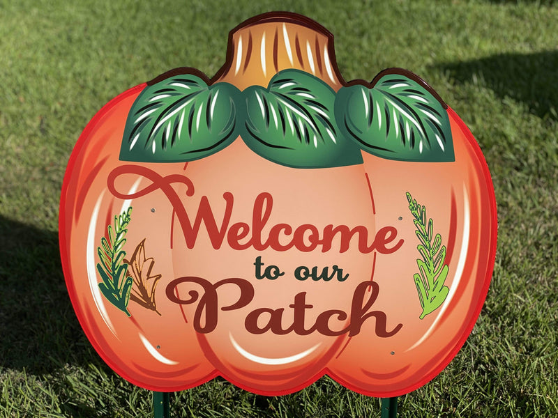 large Welcome to our patch pumpkin painted yard art design