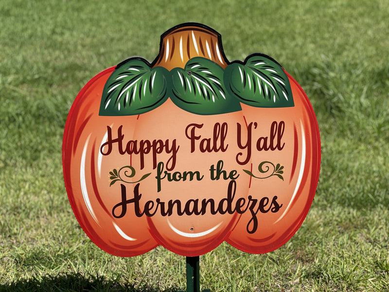Happy Fall Y'all Personalized large pumpkin painted yard art design