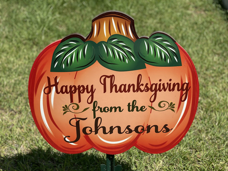 Personalized Happy Thanksgiving large pumkin painted yard art design