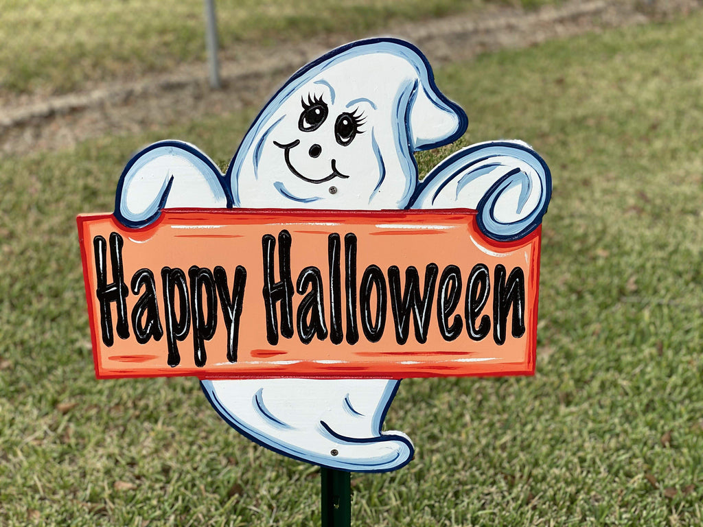 happy halloween sign held by ghost painted yard art design