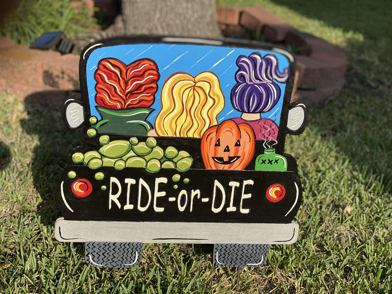 ride-or-die witch pick up truck painted yard art design