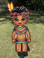 Set of Indian Boy and Girl Thanksgiving Outdoor Decorations