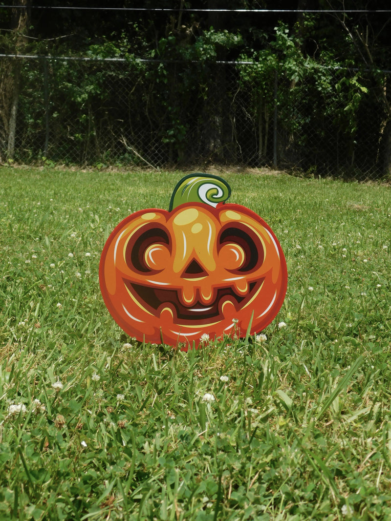 Halloween Pumpkin Emoji painted yard art design