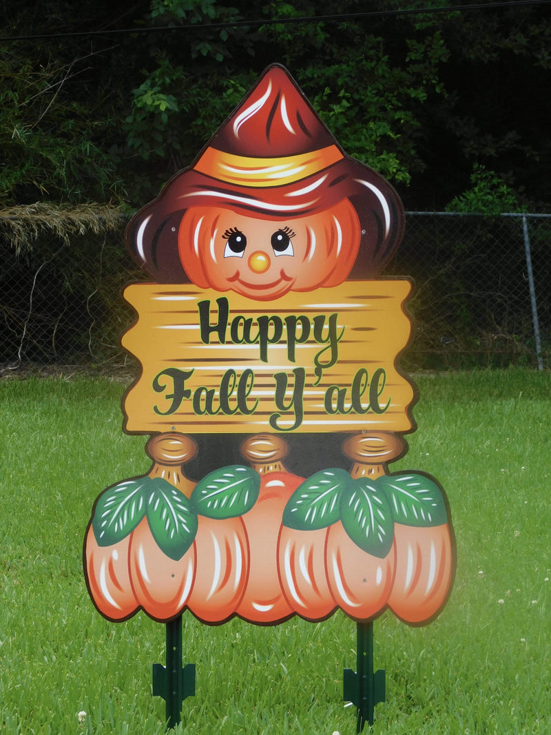 happy fall yall sign with pumkin with red hat painted yard art design