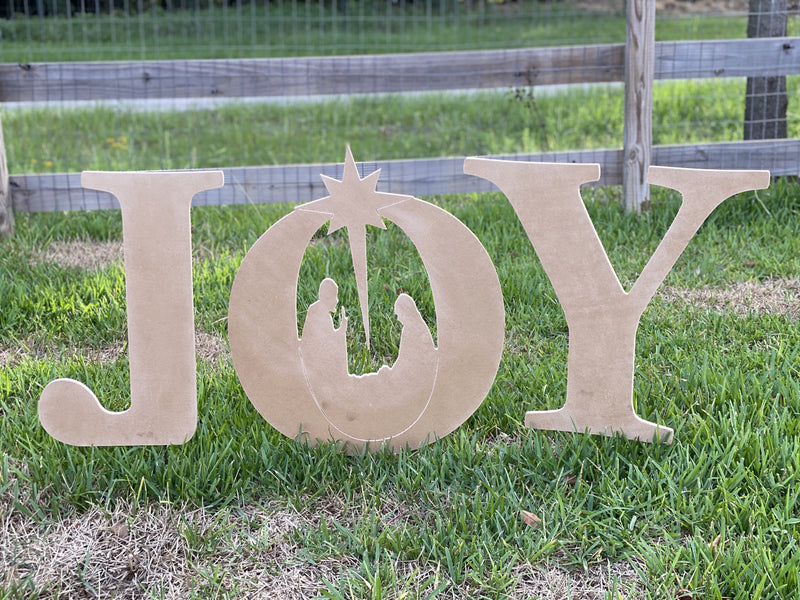 Christmas JOY letters yard art blanks