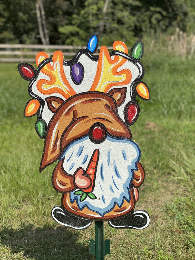 reindeer gnome wrapped in colorful lights painted yard art design