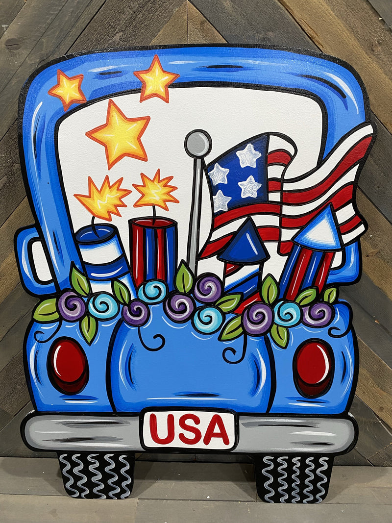 USA Truck with Flowers DIY Blank
