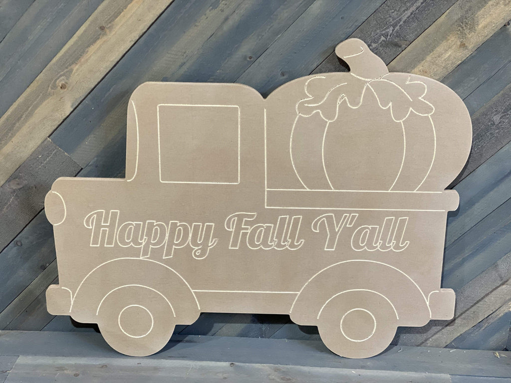 happy fall y'all pick up truck with pumpkin yard art blank template