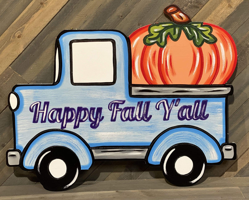 happy fall y'all pick up truck with pumpkin painted yard art design