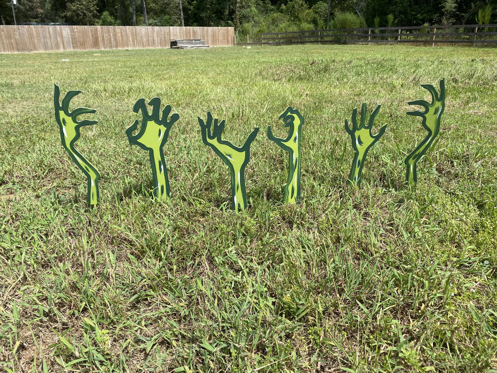 6 assorted zombie hands painted yard art design