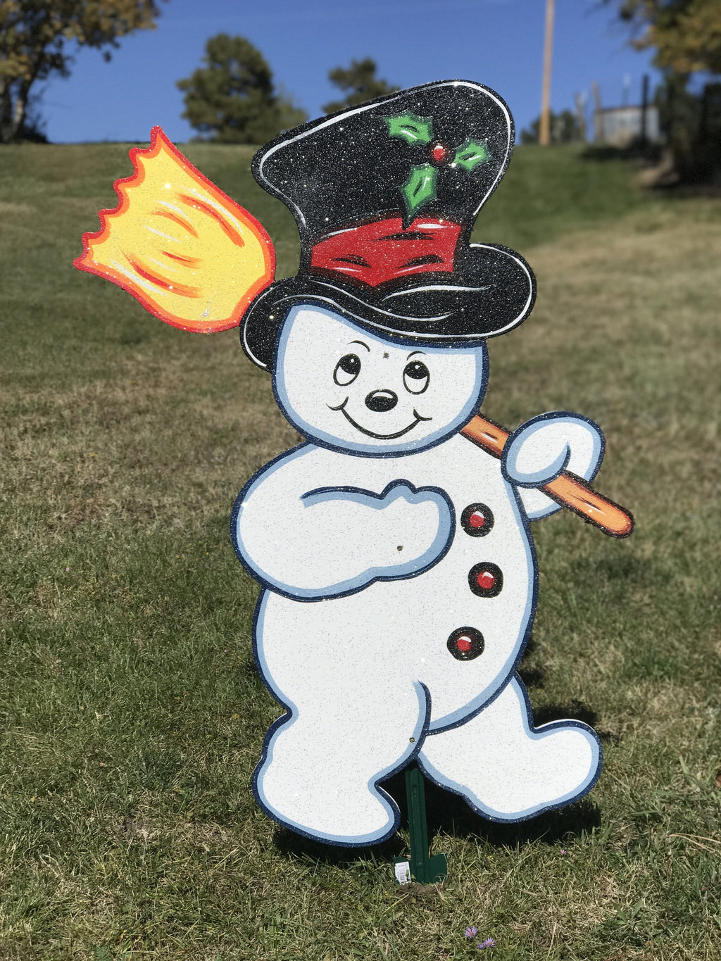 frosty the snowman holding broom painted yard art design
