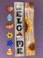 Welcome Porch leaner Sign painted yard art design