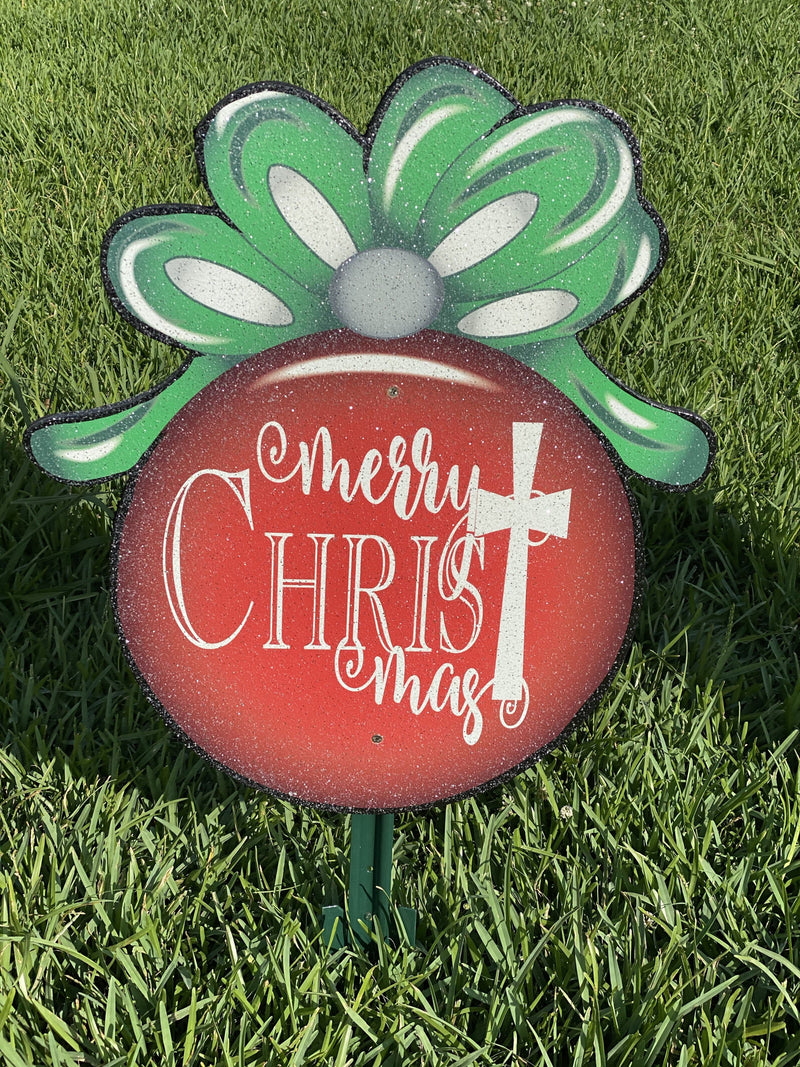 "Merry Christmas Ornament with Cross Graphic-15"" tall"