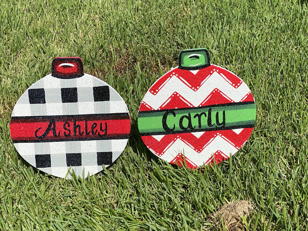 Christmas Ornament painted yard art design