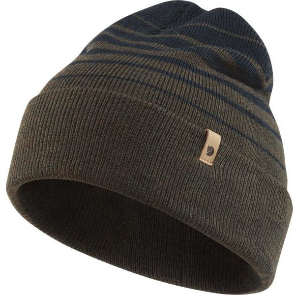 Kapa Fjällräven Classic Striped Knit Hat (Dark Olive/Dark Navy)
