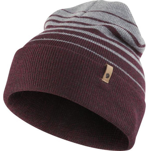 Kapa Fjällräven Classic Striped Knit Hat (Dark Garnet-Grey)