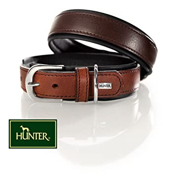 HUNTER COLLARE CANE VIRGINIA IN PELLE MARRONE E NERO