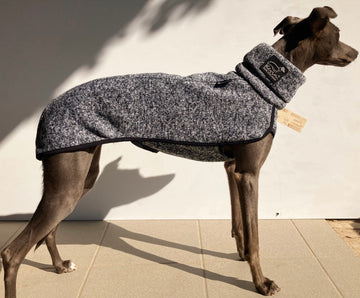 "MAGLIETTA IN PILE ""SOFA KEVIN JUMPER 02"" MELANGE BLACK AND WHITE PER WHIPPET E LEVRIERO"