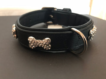 HUNTER COLLARE CANE NERO CON SWAROVSKI