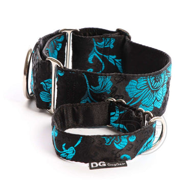"COLLARE MARTINGALA ""DG BLACK BLUE JAPAN ROSE"" PER WHIPPET E LEVRIERO"
