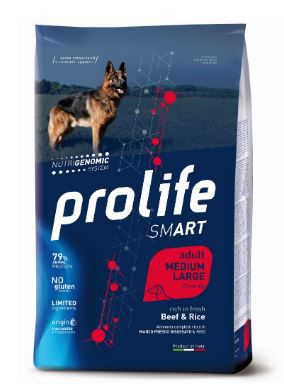 "PROLIFE ""SMART"" CROCCHETTE CANE ADULT BEEF & RICE MEDIUM/LARGE"