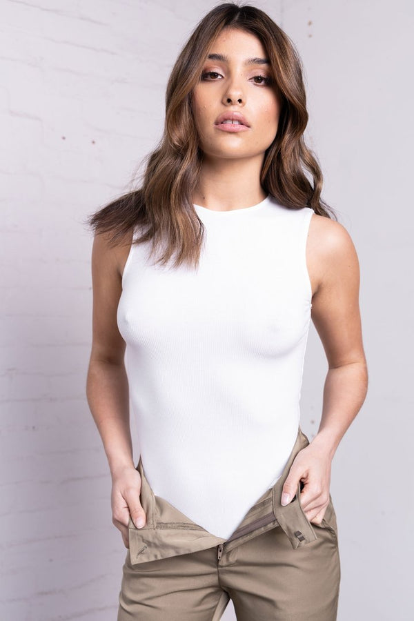 Sleeveless Crew Neck Bodysuit - WHITE