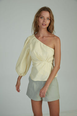 Sia One Shoulder Top - ALMOND