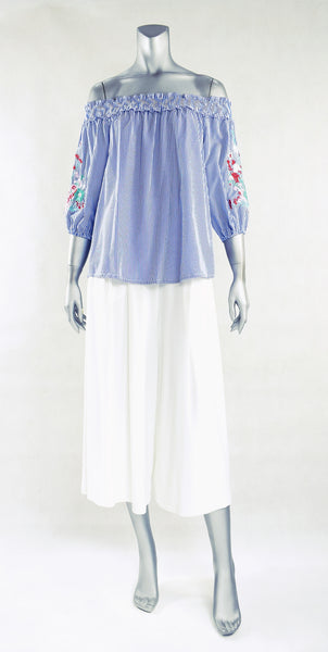 C3-Embroidered Sleeve Stripe Off Shoulder