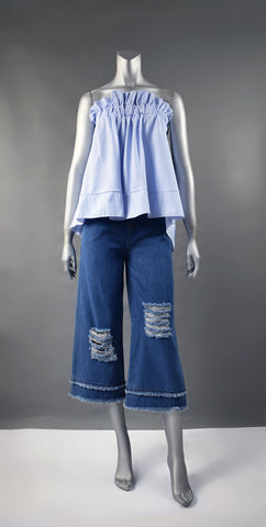 A1-Rip Denim Culottes With Band