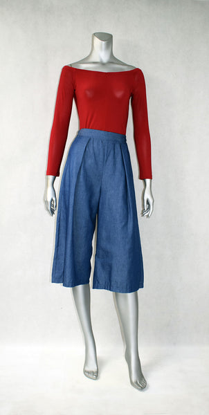 A1-Back Elastic Denim Culottes