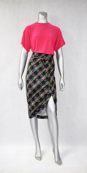 S8-Check Faux Wrap Skirt