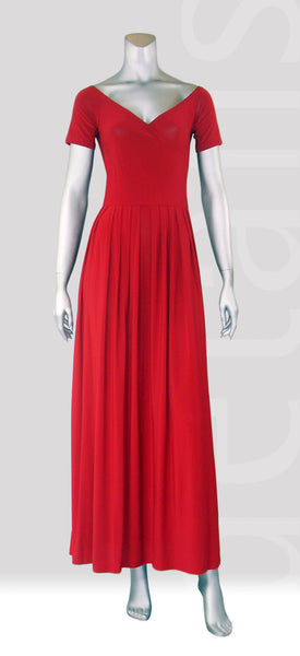 E5-Capsleeve Overlap Maxi Dress