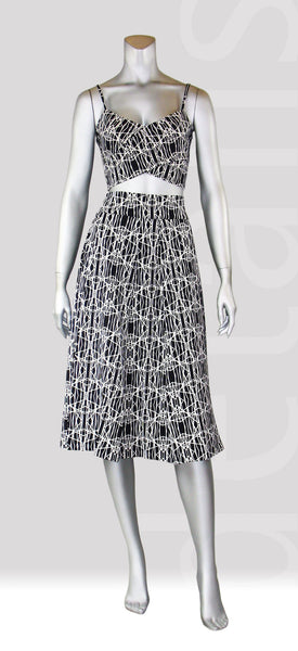 B2-Graphic Pleat Skirt