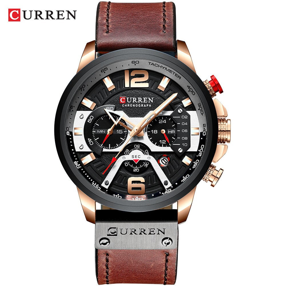 CURREN Casual Sport Watches for Men Blue Top Brand Luxury Military Leather Wrist Watch Man Clock Fashion Chronograph Wristwatch - DiscountMall