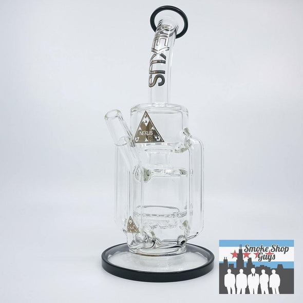 Nexus Glass Tesla V2 Recycler Rig Black Accent - Nexus Glass -- SmokeShopGuys Glass