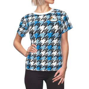 Blue Houndstooth - Women's All Over Print Cut & Sew Tee
