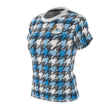 Load image into Gallery viewer, Blue Houndstooth - Women's All Over Print Cut & Sew Tee