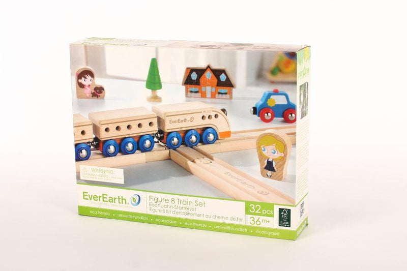 Kit de base train en bois - circuit en 8 - à partir de 3 ans / 36 mois-Default Title-Jouet en bois-EverEarth-Nature For Kids-3
