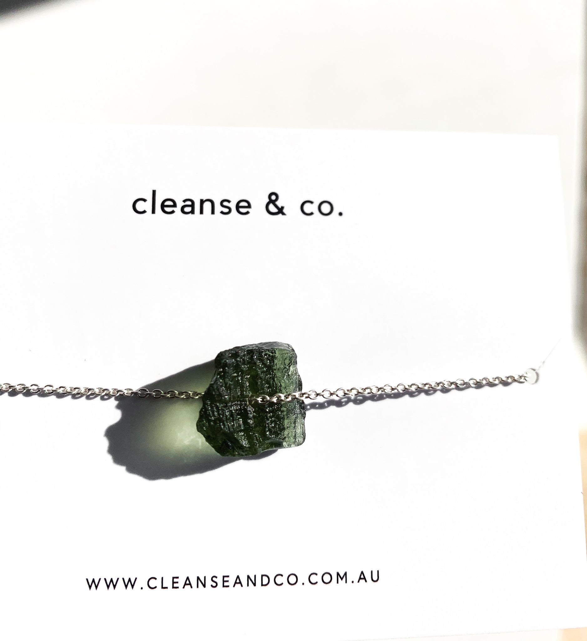 Silver Raw Moldavite Necklace