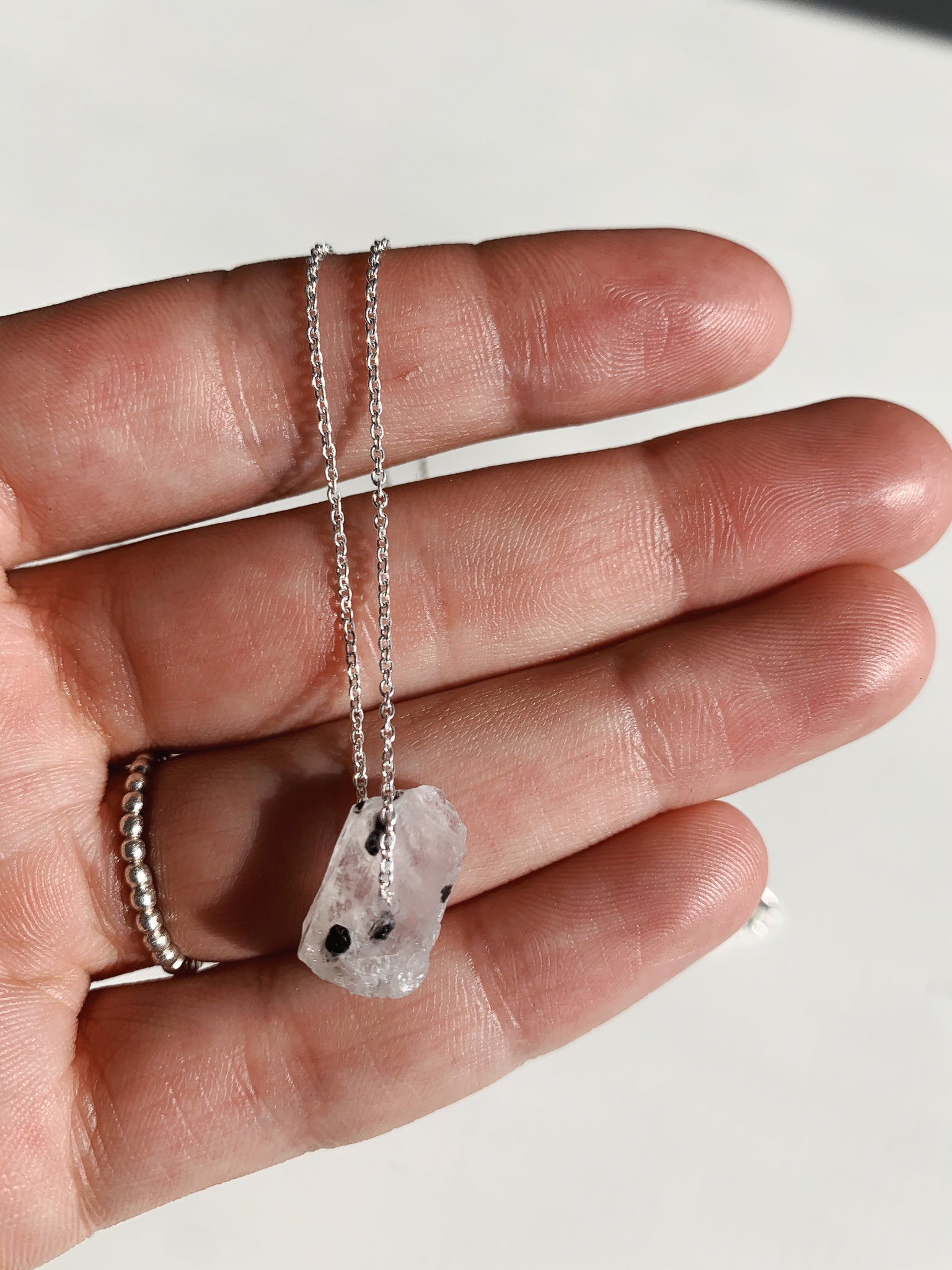 Silver Raw Moonstone Necklace