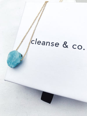 Gold Raw Amazonite Necklace