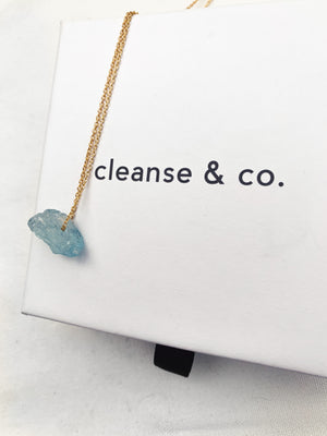 Gold Raw Aquamarine Necklace