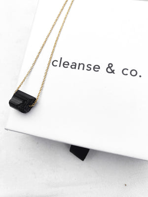 Gold Raw Black Tourmaline Necklace