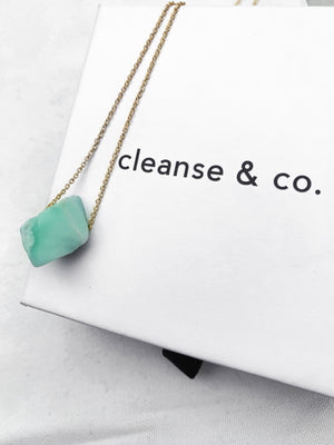 Gold Raw Chrysoprase Necklace